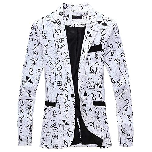 Fairy Oracle Cards - WSGYJ Men Blazer 2019 Brand Men Suit Jacket Funky Oracle Printed Coat Single Breasted Casual Blazer Masculina (Magical Mermaids And Dolphins Cards Doreen Virtue)