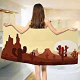 yanyanshowers Cactus Bath Towel Arid Country Landscape with Sunset in Stone Desert Saguaro and Mountains Cotton Beach Towel Yellow Brown Redwood (55''x28'')