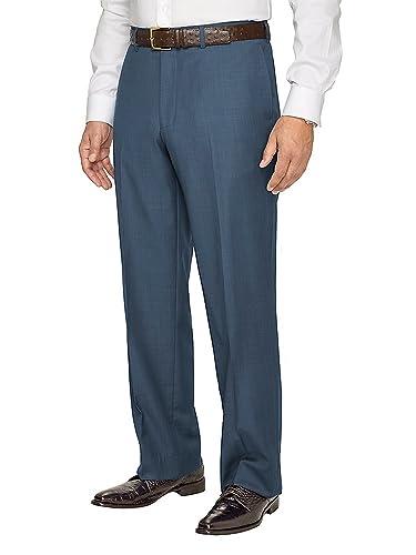 Men's Vintage Pants, Trousers, Jeans, Overalls Paul Fredrick Mens Super 120s Sharkskin Flat Front Pants $175.00 AT vintagedancer.com