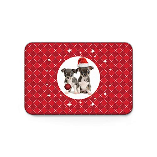 - Lazone Modern Doormat with Non Slip Backing Door Mat Home Decor,Cute Dog with Hat Jingling Bell Merry Christmas Carpet,Mats for Outdoor Indoor Entrance Bedroom Shoes Scraper,16 x 24 inch