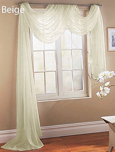 Gorgeous Home LINEN ( Beige Ivory 1PC Voile Sheer Curtain Panel Rod Pocket Drape/Scarf Swag Valance Window Treatment in Different (1 Scarf 37