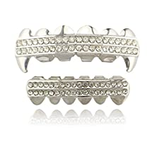 Lureen Silver Grillz Iced Out 2 Rows Bar CZ Teeth Vampire Fangs Top and Bottom Set