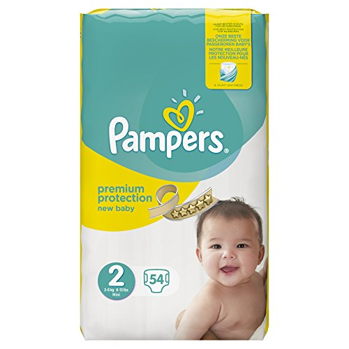 Pampers Premium Protection New Baby Größe 2 (Mini) 3-6kg Value-Pack, 54 Windeln, 1er Pack (1 x 54 Stück)
