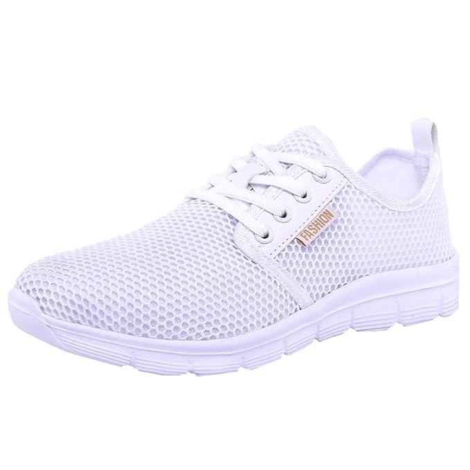 ZODOF Zapatos de Malla al Aire Libre de Las Mujeres Cordones Casuales para Arriba Soles cómodos