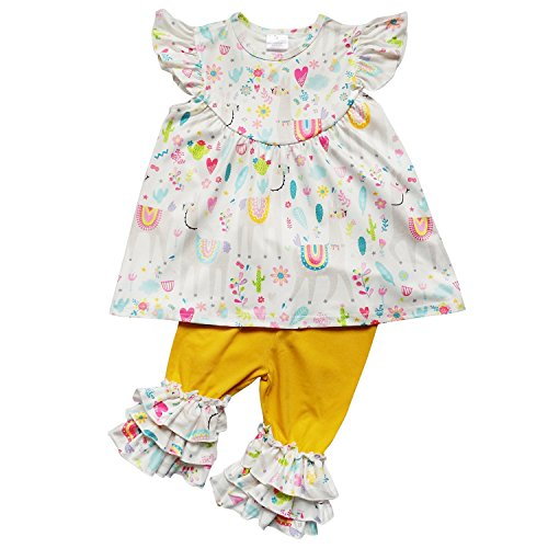 So Sydney Girls Toddler 2-4 Pc Novelty Spring Summer Top Capri Set Accessories (S (3T), Llama (Boutique Dress Set)