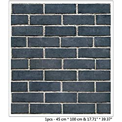 "BIBITIME 17.71"" x 39.37"" 3D Navy Brick Wall Background PVC Wallpaper Vinyl Decal Sticker for Living Room Porch Balcony Art Home Mural Kids Room Decor"