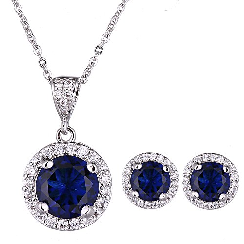 - AMYJANE Jewelry Set for Women Blue - Silver Round Cut Crystal Navy Blue Sapphire Rhinestone Necklace Earrings Set September Birthstone Jewelry Pop Style for Girls Party Prom Birthday Gift
