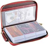 Yuhan Pretty Womens Credit Card Holder Wallet RFID Leather Small ID Card Case (60 Card Slots - Wine Red)