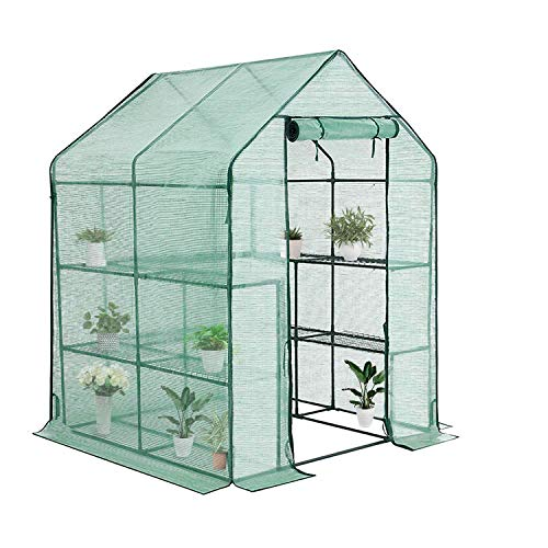 "YOUKE Walk-in Greenhouse PE Cloth Cover Garden House Succulent Plants Flowers Green Plant Insulation Family (56""x56""x77"")"