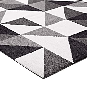 Modway R-1014A-58 Kahula Geometric Triangle Mosaic Area Rug, 5X8, Black, Gray and White