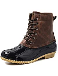 Women's Winter Duck Boots Waterproof Lace Up Two Tone Rain Duck Boots