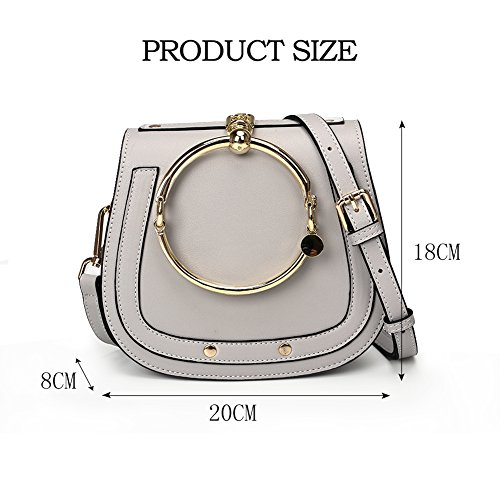 Yoome Crossbody Grey Punk Bracelet Wristlet Bags Style Version Handbags For Circular Handle lune Ring a Girls Elegant Beige Lune Satchel Round Cute Rivets Upgraded r6Fqrp