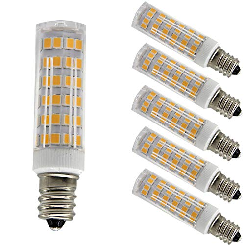 Ulight Led E12 led Light Bulb 120V, Warm White 6W Led E12 Candelabra Screw Base, Xenon JD Type led Halogen Bulb Replacement 50W or 60W Ceiling Fan Light Bulbs with 550lm-5packs (Warm White 3000K)