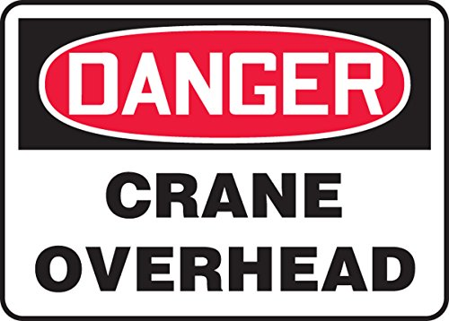 7 Length x 10 Width Red//Black on White Accuform MCRT153VA Aluminum Safety Sign LegendDANGER CRANE OVERHEAD