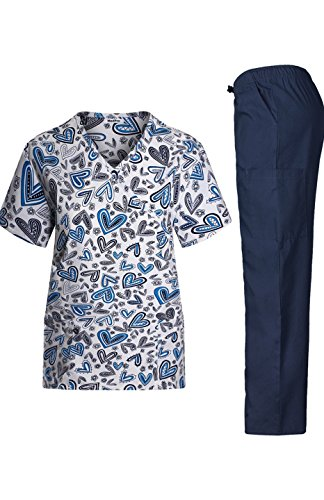 MedPro Women's Medical Scrub Set with Printed Wrap Top and Cargo Pants Blue Black L