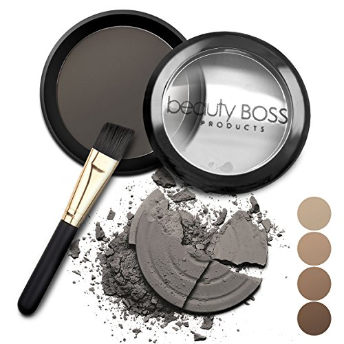 Black Brush Powder - Eyebrow Powder Soft Black - Natural Fill-in Eyebrow Makeup - Brow Power Water Resistant Includes Small Brush