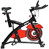 Soozier Pro Upright Stationary Exercise Cycling Bike w/ LCD Monitor - Black and Red