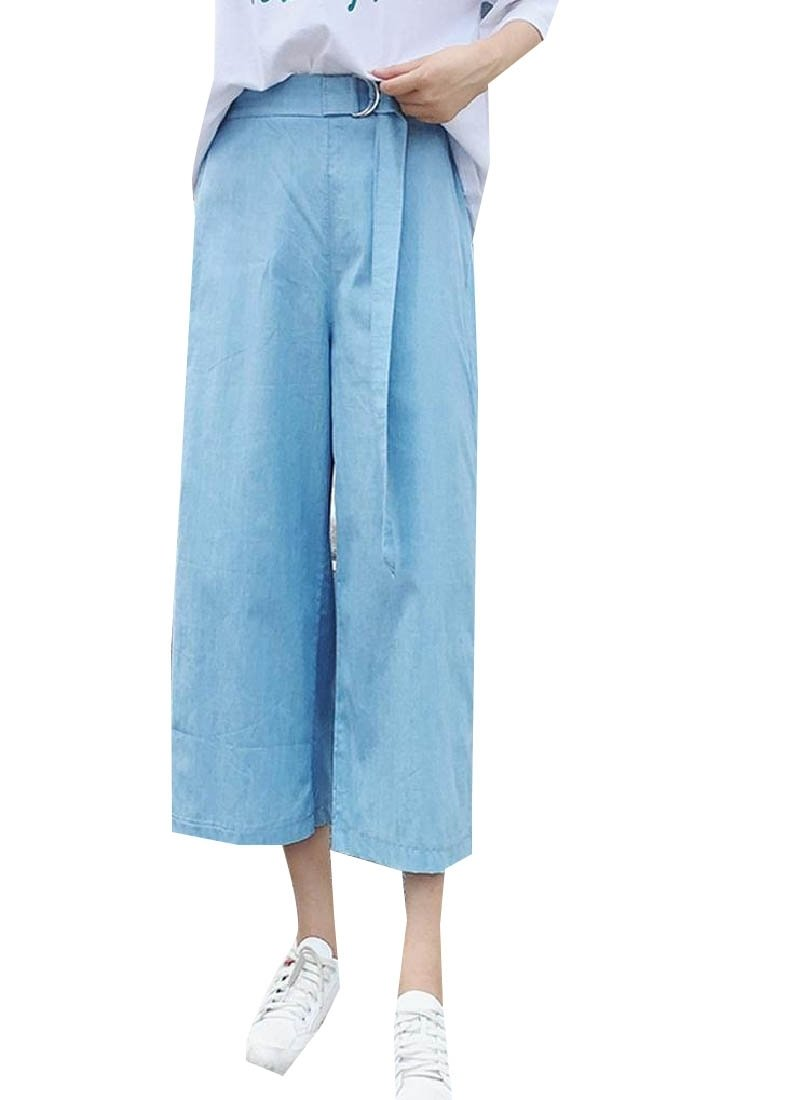 Doufine Womens Cozy Strappy Casual Trousers Loose Fit Wide Leg Jeans Pants Blue M