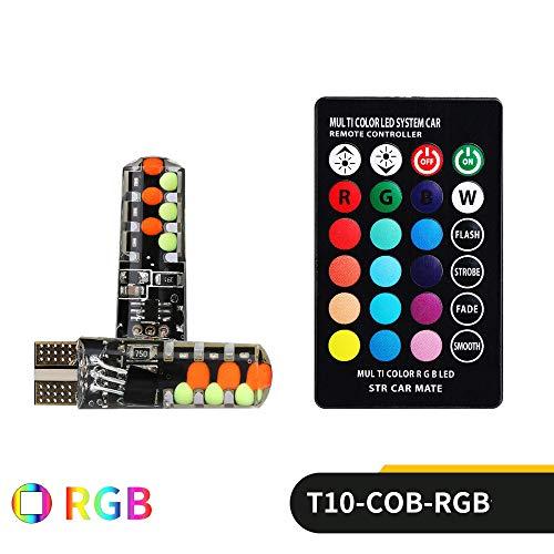 YESSKO RGB T10-COB Bulb Remote Control Car Width Light Strobe Light Atmosphere Light Car Lights Lighting Kit (Multicolor)