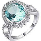 Sumanee Women Blue Sapphire 18K White Gold Filled Wedding Ring Jewelry Gift Band Rings (7)