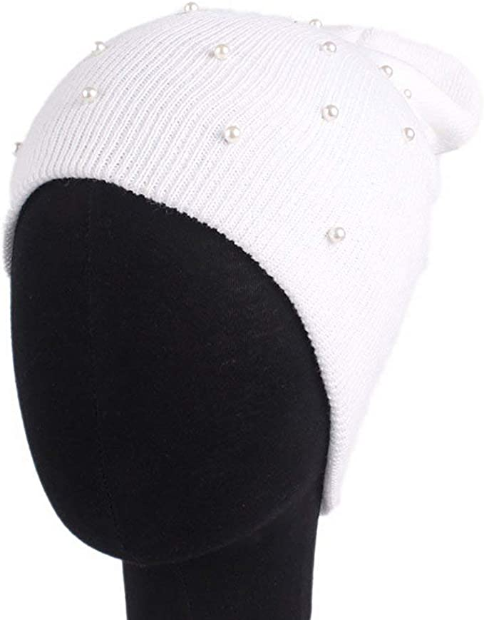 Gorros Moda Beanie Hat con Oreja Perla Invierno Calentamiento ...