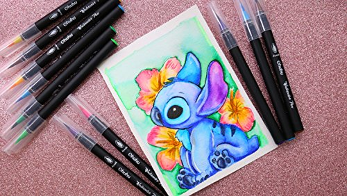 Watercolor Brush Markers Pen, Ohuhu 20 Colors Water Based Drawing Marker Brushes W/A Water Coloring Brush, Water Colored Ink W/Soft Flexible Tip for Adult Coloring Books, Manga, Comic, Calligraphy by Ohuhu (Image #4)