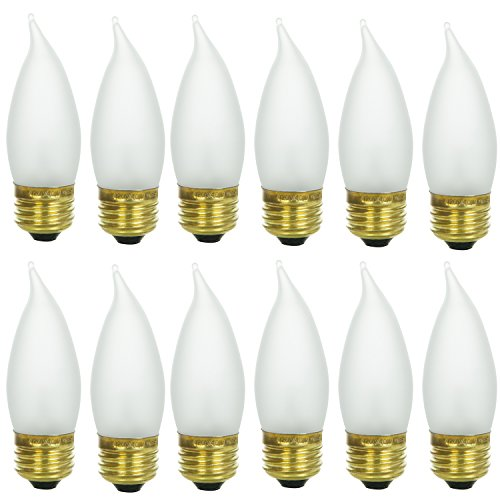 Sunlite 25EFF/32/12PK Medium (E26) Base Flame Tip 25W Incandescent Chandelier Frosted Bulb (12 Pack) (25w Chandelier Bulb)