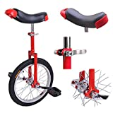 "16"" Inches Uni-Cycle Wheel Skid Proof Tread Pattern Unicycle Bike Cycling - Red"