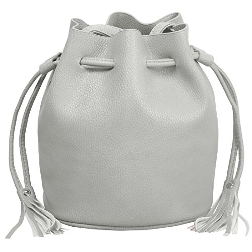 BMC Womens Elephant Gray Textured Faux Leather Drawstring Style Cinch Sack Mini Fashion Handbag