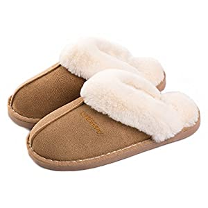 51JHlJrjZtL. AA300  - Women's Comfort Memory Foam Slippers Wool-Like Plush Fleece Lined House Shoes w/Indoor, Outdoor Anti-Skid Rubber Sole (Medium/7-8 B(M) US, Black)