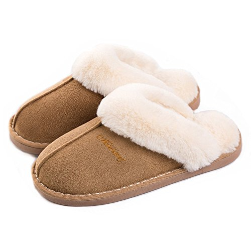 OSHOW Womens Slipper, Fluffy Slip On House Slippers Clog Soft Indoor Outdoor Slipper for Winter