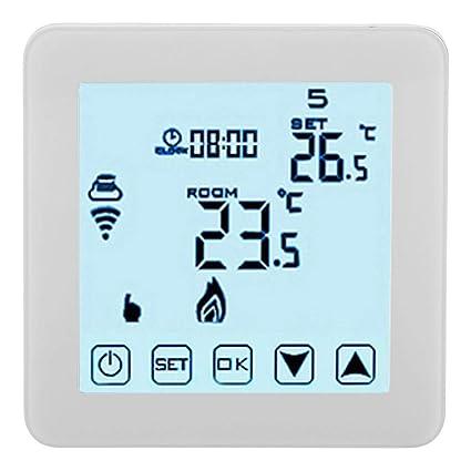 Garosa Termostato Inteligente WiFi Controlador De Temperatura Programable LCD Digital Termostatos De Calefacción Wirless (Blanco