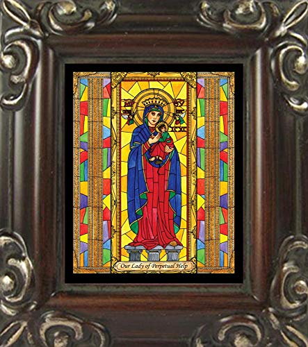 Trinity Stores Mini Magnet Framed Religious Art Print - Walnut-3¾x4¼ - Our Lady of Perpetual Help by Brenda Nippert