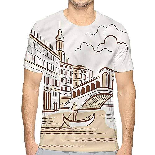 t Shirt for Men Venice,Venetian Landscape Art Custom t Shirt XL