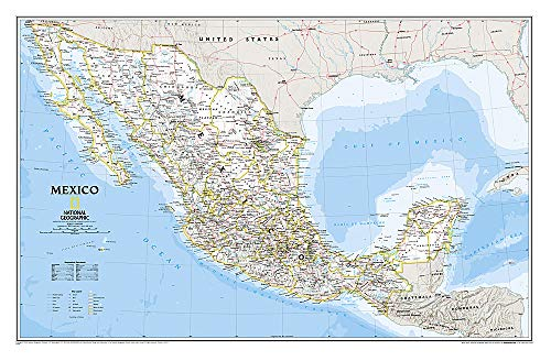 National Geographic: Mexico Classic Wall Map (34.5 x 22.5 inches) (National Geographic Reference...