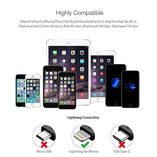 Lightning Cable Apple MFI Certificado, BlitzWolf 1.8m Lightning Cable Nylon Trenzado Apple Cargador con Correa de Velcro para iPhone 6S Plus 6 Plus 7 Plus 5 5S 5C SE, iPad Pro Air, iPad Mini 2 3 4, iPod (Rojo y Negro)