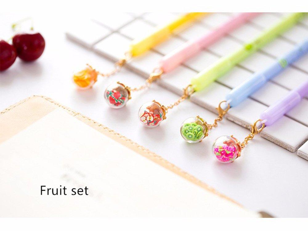Max corner Pendant Pens, Fruit Or Luminous Cute Gel Pen, Black Ink Roller Ball Point Pen 5 Pcs/set Stationary School Supplies Gift (Fruit set)