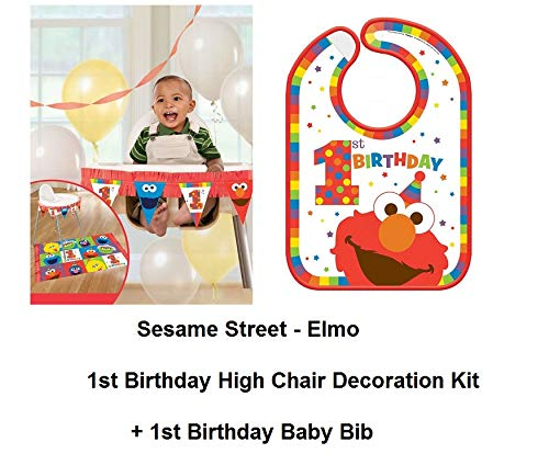 - Sesame Street Elmo Baby 1st High Chair Banner Decoration Plus Elmo Baby BIB 1st and BIRTHDAY CARD