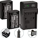 BM Premium 2-Pack of NP-FH50 Batteries and Battery Charger for Sony CyberShot DSC-HX100V DSC-HX200V Digital Camera