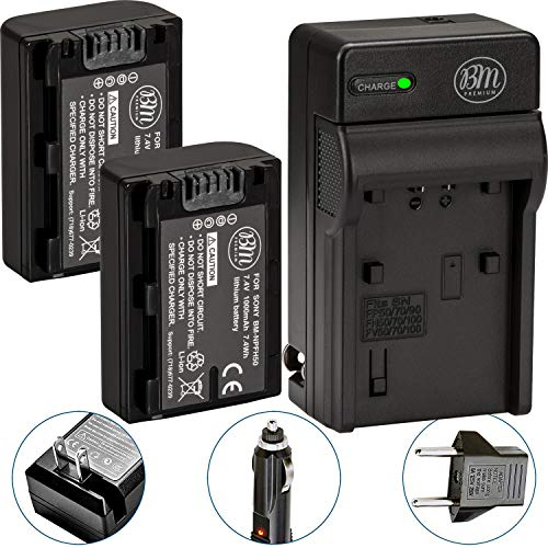 BM Premium 2 NP-FH50 Batteries and Battery Charger for Sony CyberShot DSC-HX1 DSC-HX100V DSC-HX200V HDR-TG5V Digital Cameras
