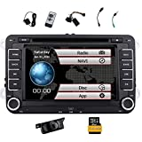 Free Reversing Camera + EinCar Double Din 7 Inch Car Stereo Radio DVD GPS Nav CD Player in Dash Bluetooth Touch Screen Head Unit for VW Passat T5 Golf MK5 Jetta Skoda with 8GB Map Card