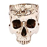 Kangkang@ Vivid Halloween Skull Head Shaped Flower Pot Box Container Replica Ashtray DIY Home Bar Halloween Decoration Props Gifts