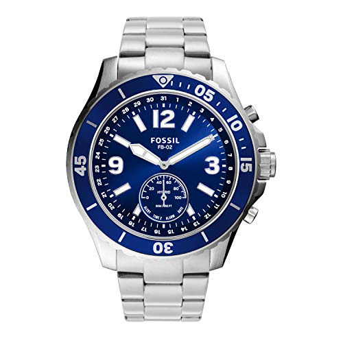Fossil Men's FB-02 Fossil Blue Stainless Steel Hybrid Smartwatch with Activity Tracking and Smartphone Notifications