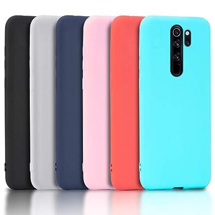 Wanxideng - 6X Funda para Xiaomi Redmi Note 8 Pro, Carcasa en Silicona - [ Negro + Blanco Translúcido + Rojo+ Rosado+ Menta Verde + Azul Claro ]