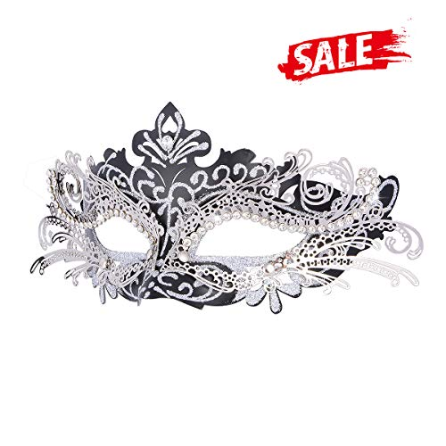Hoshin Masquerade Mask, Mardi Gras Deecorations Venetian Masks for Womens (Black with Silver Line) (Black Venetian Masks)