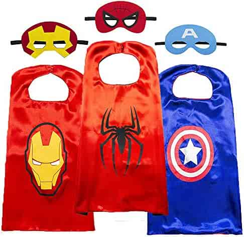 Superhero Cape for Kids-Avengers Cape and Mask-Cosplay Costumes Set for Kids(3 Sets).