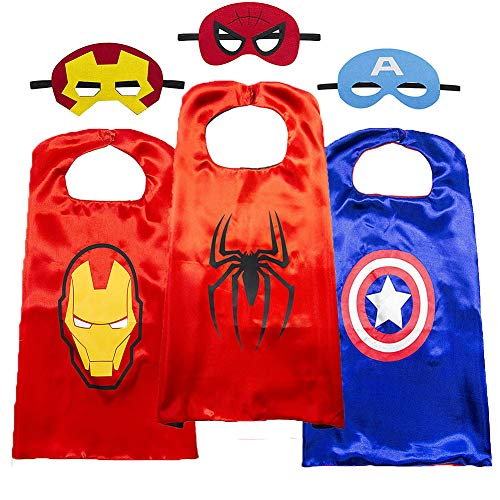 Superhero Cape for Kids-Avengers Cape and Mask-Cosplay Costumes Set for Kids(3 Sets)