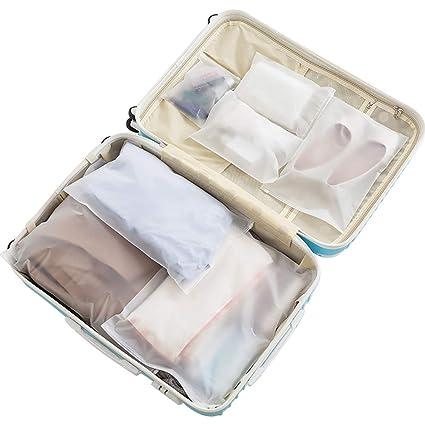 Vankra - 10 bolsas impermeables para ropa de viaje, plástico esmerilado con cierre de cremallera