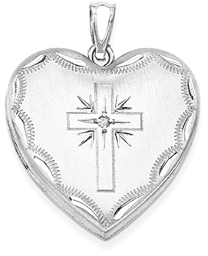 Cross Design Heart Locket (ICE CARATS 925 Sterling Silver 24mm Diamond Cross Religious Design Family Heart Locke Locket Fine Jewelry Gift Set For Women Heart)