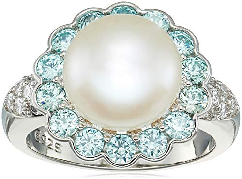 Platinum Plated Sterling Silver Freshwater Pearl Flower with Frosty Mint Swarovski Zirconia Accents Ring, Size ()